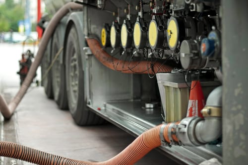 Fuel truck which refill. Hoses and pumps to load the truck. Companies than need general liability insurance concept